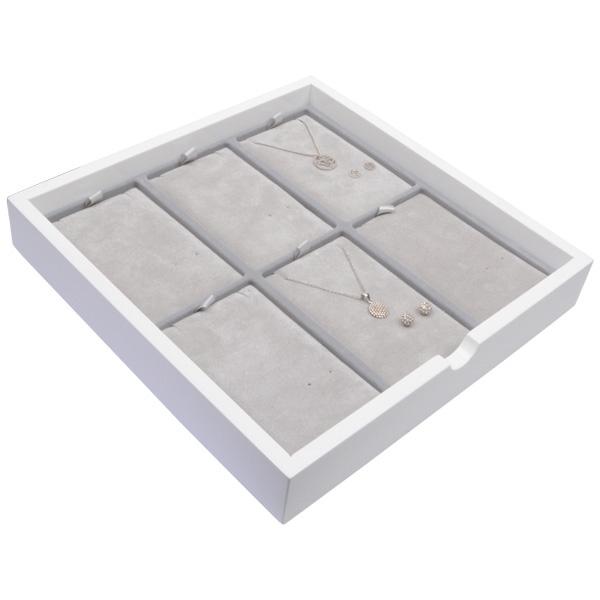 Tableau voor 6x sieradenset, staand Wit hoogglans hout/ Grijze velours cartouches 241 x 241 x 38