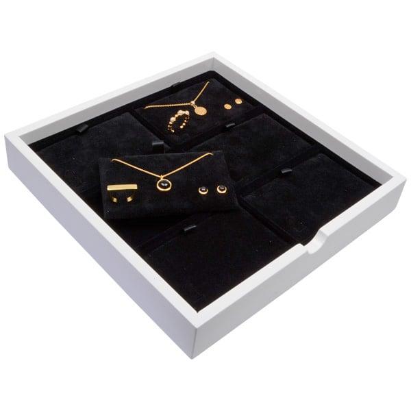 Tableau voor 6x sieradenset, liggend Wit hoogglans hout/ Zwarte velours cartouches 241 x 241 x 38
