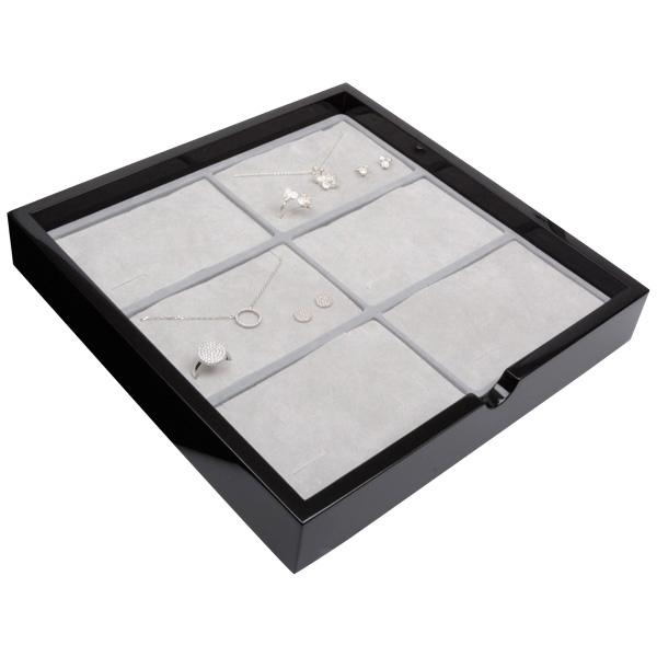 Tableau voor 6x sieradenset, liggend Zwart hoogglans hout/ Grijze foam kussens 241 x 241 x 38
