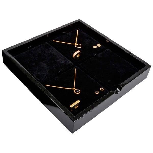 Tableau voor 4x sieradenset Zwart hoogglans hout/ Zwarte velours cartouches 241 x 241 x 38