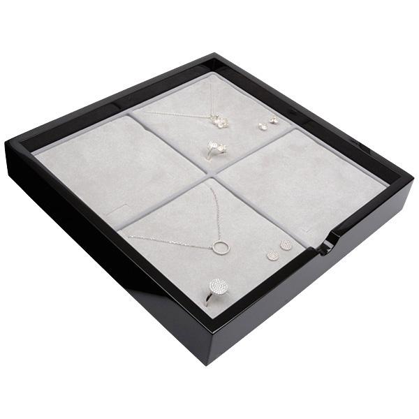 Plateau présentation: 4x parures 3 pièces Bois noir lacqué/ Coussins en mousse gris clair 241 x 241 x 38