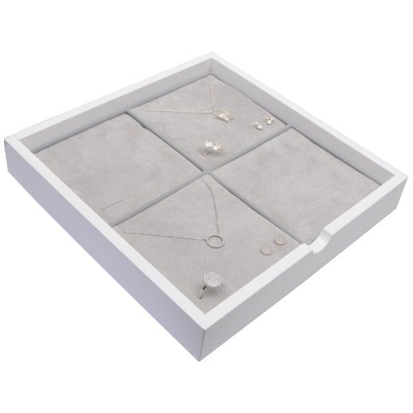 Plateau présentation: 4x parures 3 pièces Bois blanc lacqué/ Coussins en mousse gris clair 241 x 241 x 38