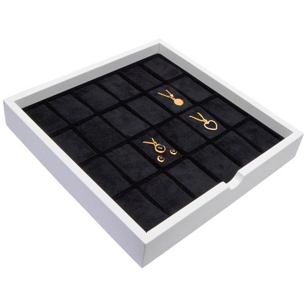 Tableau voor 24x lange oorbellen Wit hoogglans hout/ Zwarte foam kussens 241 x 241 x 38