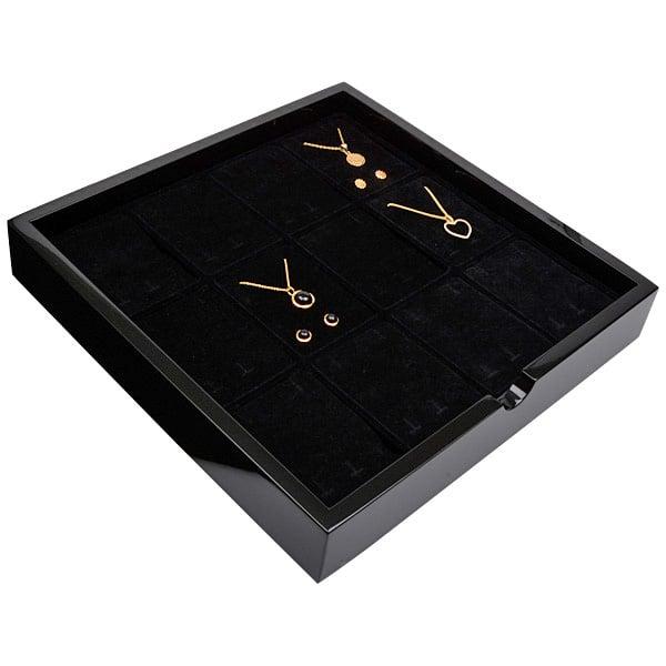 Tableau voor 12x lange oorbellen Zwart hoogglans hout/ Zwarte foam kussens 241 x 241 x 38