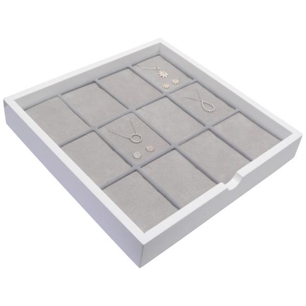 Tableau voor 12x lange oorbellen Wit hoogglans hout/ Grijze foam kussens 241 x 241 x 38