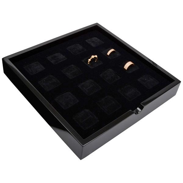 Tableau voor 16x ring Zwart hoogglans hout/ Zwarte foam kussens 241 x 241 x 38