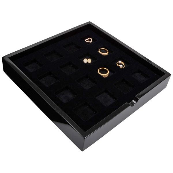 Plateau présentation : 16xx poche universel Bois noir lacqué/ Coussins en mousse noire 241 x 241 x 38