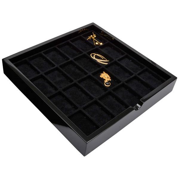 Tableau met 24 universele vakjes Zwart hoogglans hout/ Zwarte foam kussens 241 x 241 x 38