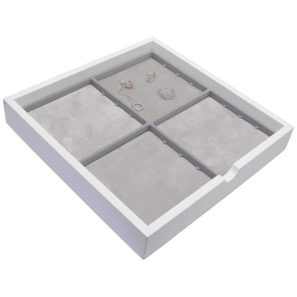 Plateau présentation : 4x poche universelle Bois blanc lacqué/ Coussins en mousse gris clair 241 x 241 x 38