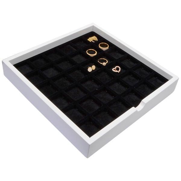 Tableau met 32 universele vakjes Wit hoogglans hout/ Zwarte foam kussens 241 x 241 x 38