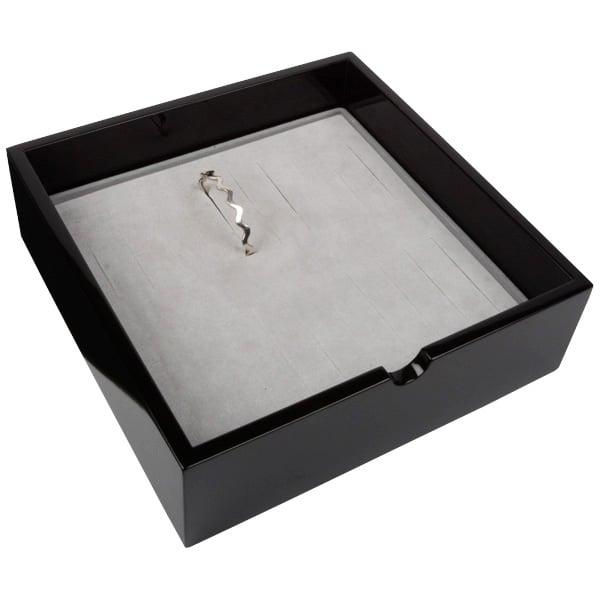 Tableau voor 20x armring, extra hoog Zwart hoogglans hout/ Grijze foam kussens 242 x 242 x 74