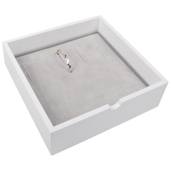 Tableau voor 20x armring, extra hoog Wit hoogglans hout/ Grijze foam kussens 242 x 242 x 74