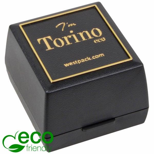 Torino ECO sieradendoosje voor ring/ trouwringen Zwart gerecycled plastic/ Gouden bies/ Zwart foam 44 x 47 x 33