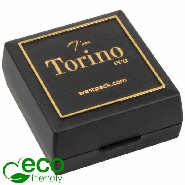 Torino ECO sieradendoosje oorbellen/ oorknopjes Zwart gerecycled plastic/ Gouden bies/ Zwart foam 48 x 45 x 22