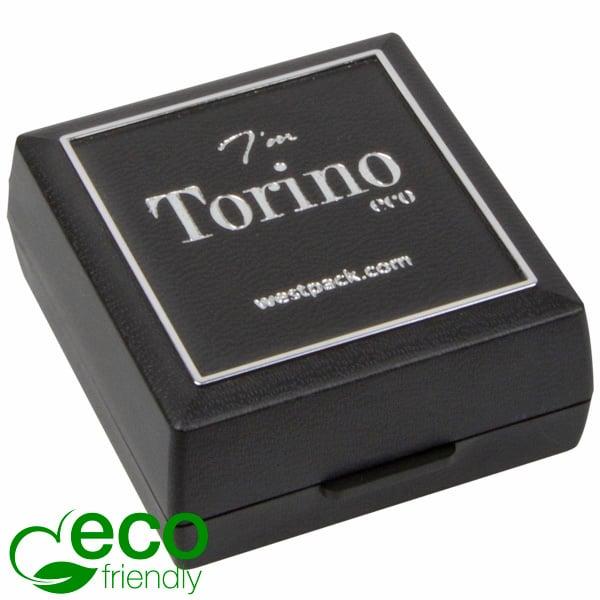 Torino ECO sieradendoosje oorbellen/ oorknopjes Zwart gerecycled plastic/Zilveren bies/Zwart foam 48 x 45 x 22