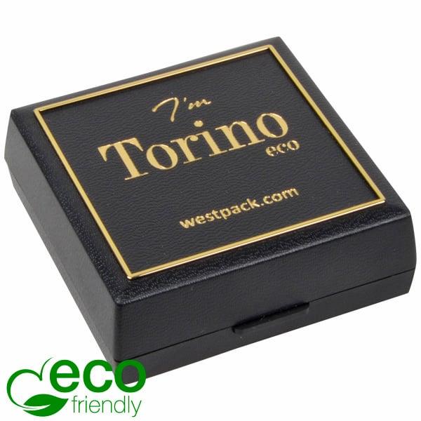 Torino ECO sieradendoosje voor oorbellen/ hanger Zwart gerecycled plastic/ Gouden bies/ Zwart foam 60 x 60 x 22