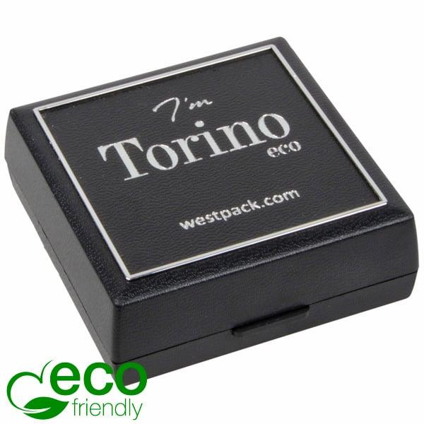 Torino ECO sieradendoosje voor oorbellen/ hanger Zwart gerecycled plastic/Zilveren bies/Zwart foam 60 x 60 x 22