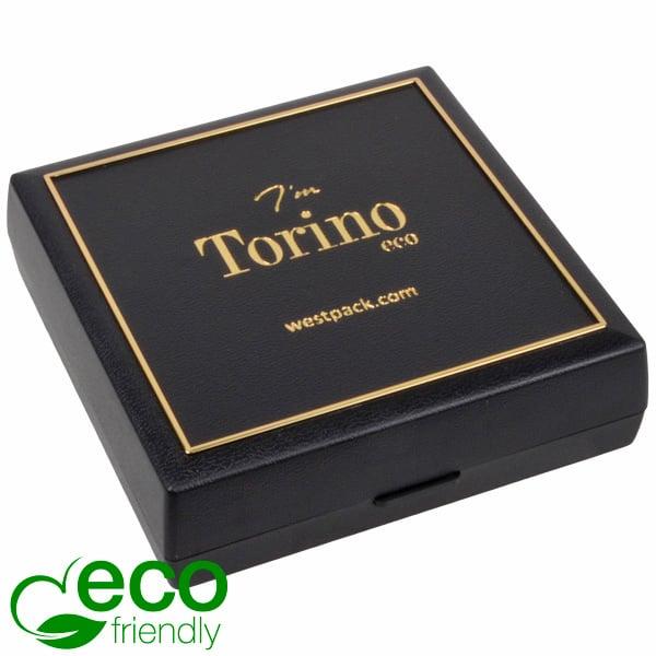 Torino ECO écrin bracelets/grand pendentif Plastique recyclé noir/Outil or/Mousse noire 84 x 84 x 25