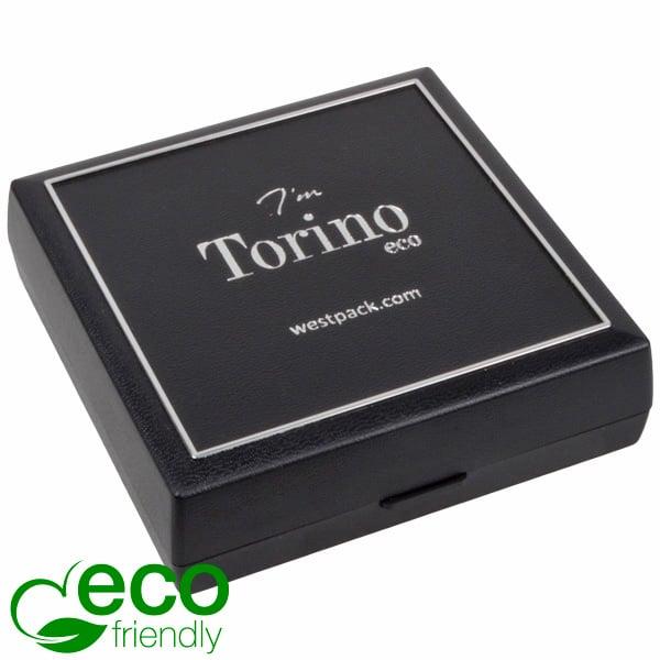 Torino ECO sieradendoosje armring / hanger Zwart gerecycled plastic/Zilveren bies/Zwart foam 84 x 84 x 25