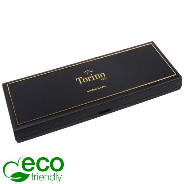 Torino ECO sieradendoosje halve choker/ collier Zwart gerecycled plastic/ Gouden bies/ Zwart foam 205 x 72 x 23