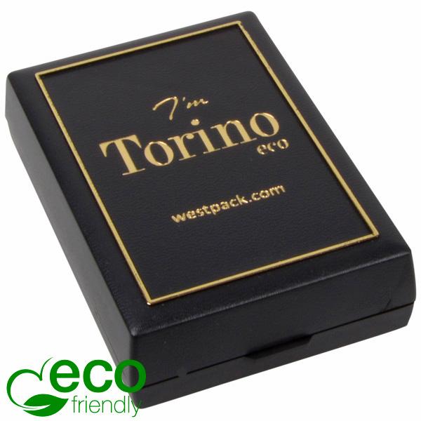 Torino ECO sieradendoosje voor ketting met hanger Zwart gerecycled plastic/ Gouden bies/ Zwart foam 55 x 80 x 20