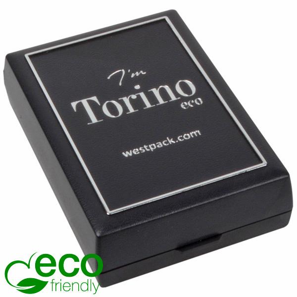 Torino ECO écrin collier avec pendentif, moyen Plastique recyclé noir/Outil argent/Mousse noire 55 x 80 x 20