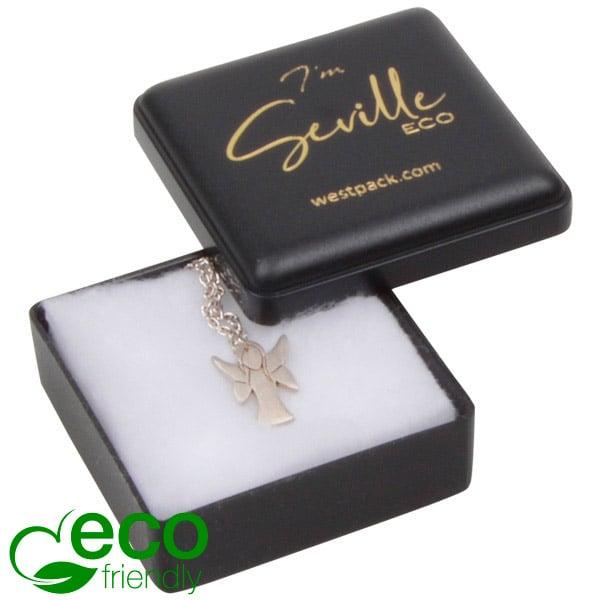 Seville ECO wattendoosje oorbellen/ oorknopjes Zwart gerecycled kunststof/ Witte watten 42 x 42 x 18