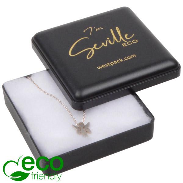 Seville ECO écrin petit pendentif Plastique recyclé noir / Intérieur ouate blanche 60 x 60 x 21