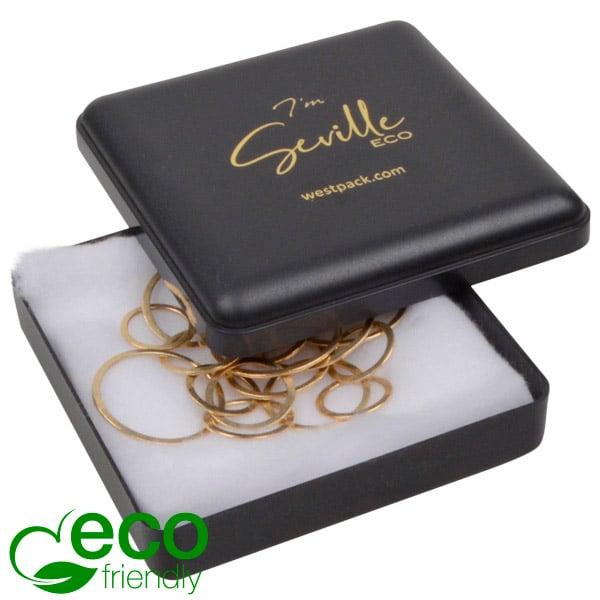 Seville ECO wattendoosje armring/ hanger Zwart gerecycled kunststof/ Witte watten 80 x 80 x 24