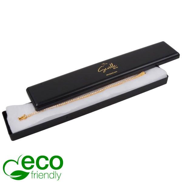 Seville ECO wattendoosje voor armband, langwerpig Zwart gerecycled kunststof/ Witte watten 216 x 36 x 21