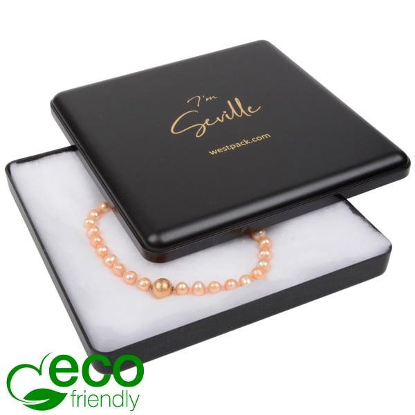 Seville ECO wattendoosje voor collier Zwart gerecycled kunststof/ Witte watten 160 x 160 x 27