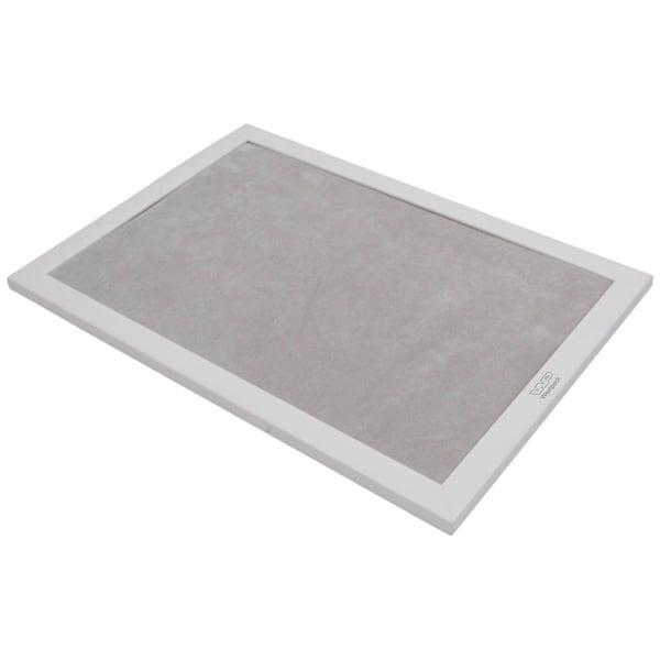 Plateau de Présentation avec Impression - Largeur Cadre en bois blanc mat/Coussin velours gris clair 390 x 270
