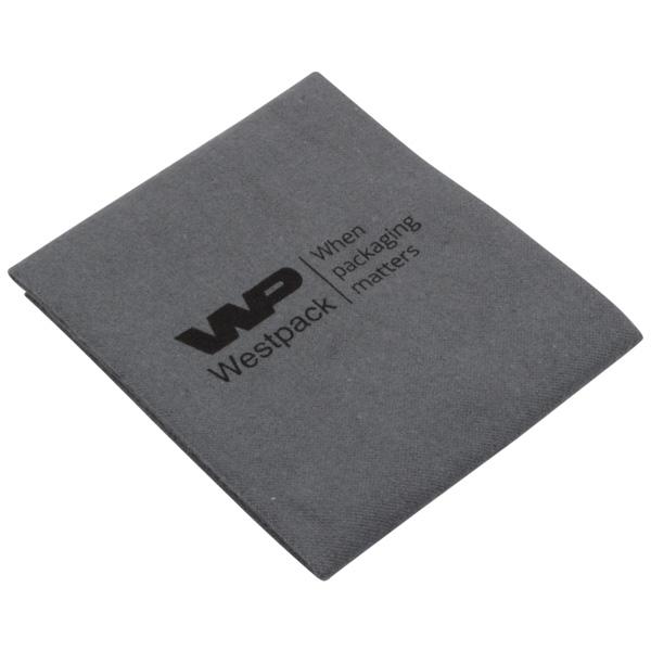 Poetsdoekje met enkel logo Antraciet grijs, niet geïmpregneerd 300 x 350