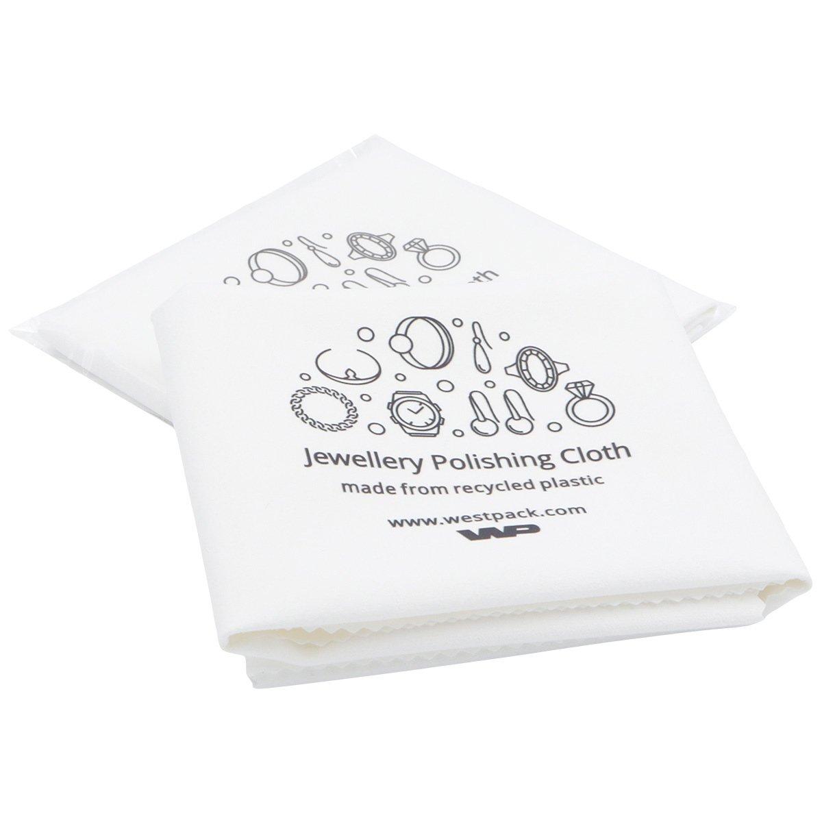 Poetsdoekje met enkel logo Wit, niet geïmpregneerd 300 x 350