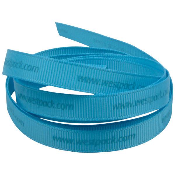Ruban satin personalisé, sérigrafie à plat Turquoise  9 mm x 91,4 m