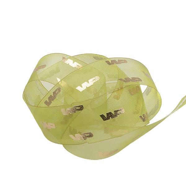 Ruban en organza personalisé, sérigrafie effet 3D Vert lime  25 mm x 45,7 m