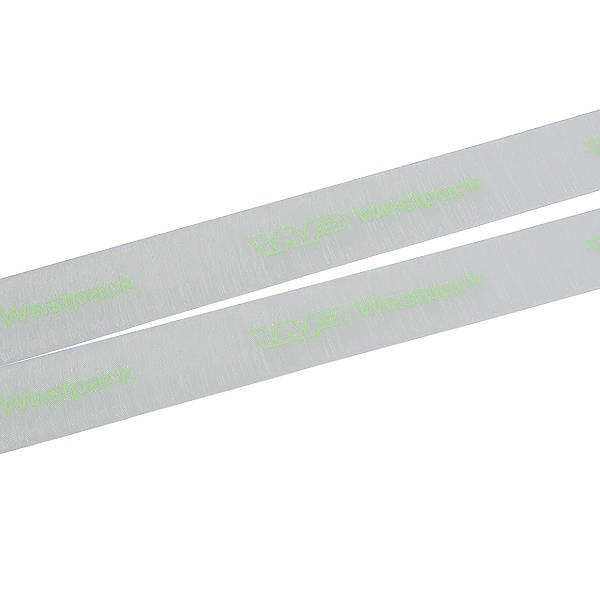 Organzalint met gladde logobedrukking Mintgroen  25 mm x 45,7 m