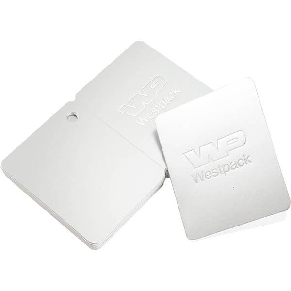 Cadeaukaartjes met logobedrukking, dubbelzijdig Zilver karton 45 x 55