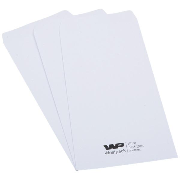 Sachets réparation avec logo imprimé Papier blanc avec impression noir  110 x 240