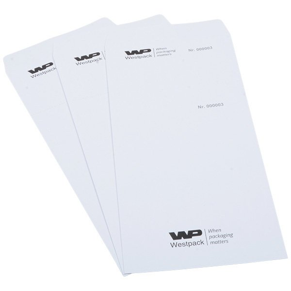 Reparatiezakje met logo, nr. en afscheurstrook Genummerd wit zakje met reçu en zwarte bedrukking 110 x 240