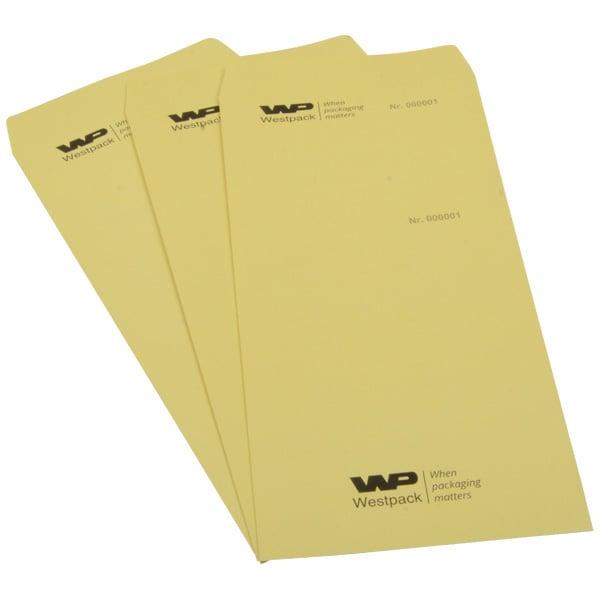Sachets réparation avec logo, N°+ volet détachable Papier jaune numéroté avec reçu et impression noir 110 x 240