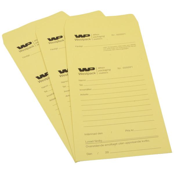 Sachets réparation préimprimé, pour bijoux Sachet jaune numéroté avec reçu / Texte suédois 110 x 240