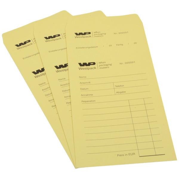 Sachets réparation préimprimé, pour bijoux Sachet jaune numéroté avec reçu / Texte allemand 110 x 240