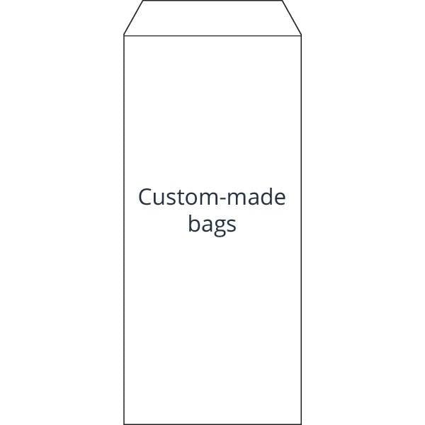 Reparatiezakje, bedrukt naar eigen ontwerp Genummerd wit zakje met zwarte bedrukking 110 x 240
