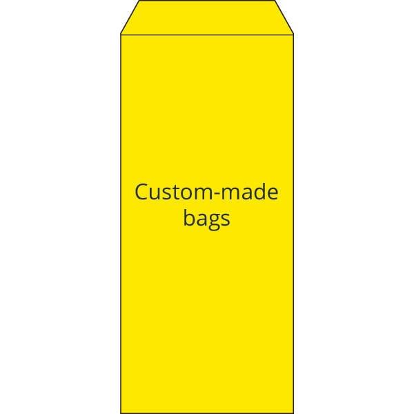 Sachets réparations,  mise en page personnalisée Sachet en papier jaune avec impression noir  110 x 240
