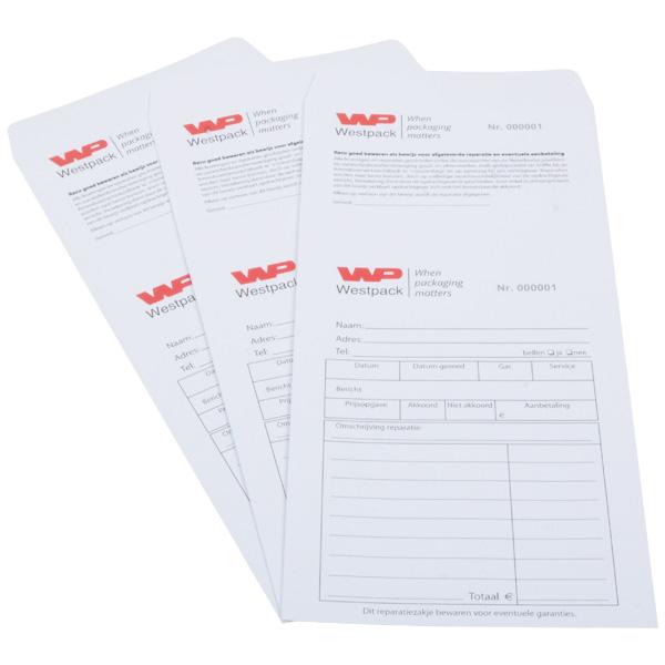 Voorbedrukte retourenveloppe met tweekleurig logo Genummerd wit zakje met reçu / Nederlandse tekst 110 x 240