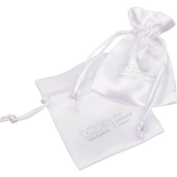 Satijnzakje met logobedrukking op zakje, mini Wit satijn 75 x 90