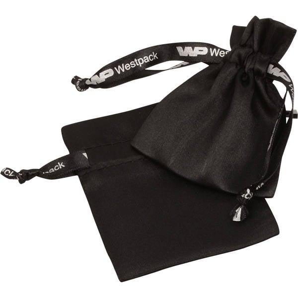 Bourse Satin, avec impression sur le ruban, XS Satin noir 75 x 90