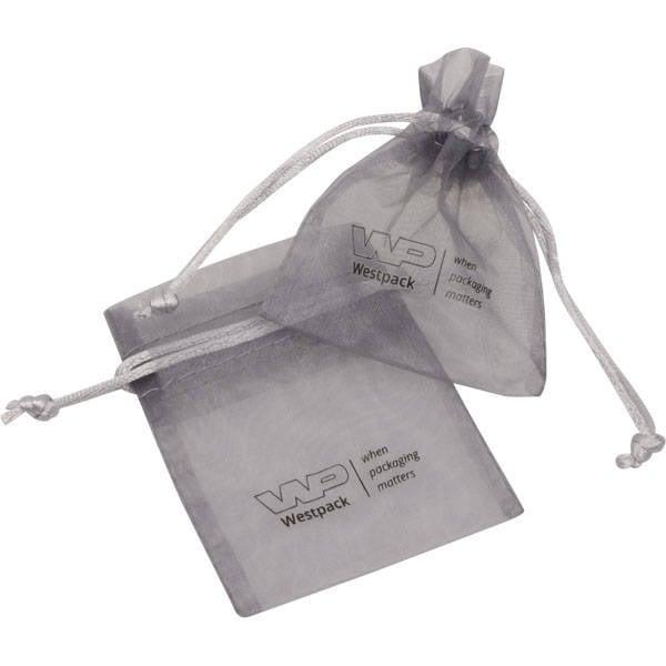 Grootverpakking Mini Organzazakje, logo op zakje Zilvergrijs 70 x 90