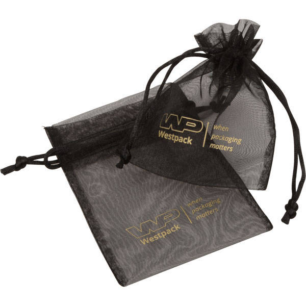 Grootverpakking Klein Organzazakje, logo op zakje Zwart 90 x 120